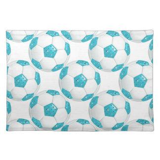 Diamond Gemstones Aqua Soccer Ball Place Mat