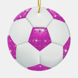 Diamond Gemstones Hot Pink & Aqua Soccer Ball Ceramic Ornament