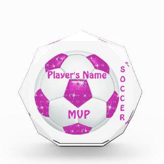 Diamond Gemstones Hot Pink Soccer Ball Awards