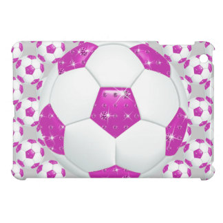 Diamond Gemstones Hot Pink Soccer Ball Case For The iPad Mini