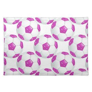 Diamond Gemstones Hot Pink Soccer Ball Place Mats