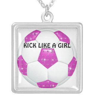 Diamond Gemstones Hot Pink Soccer Ball Silver Plated Necklace