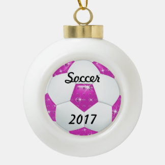 Diamond Gemstones Hot Pinka Soccer Ball Ornament