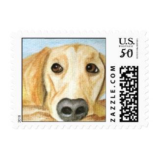 Diamond Girl Yellow Labrador Dog Postage Stamp