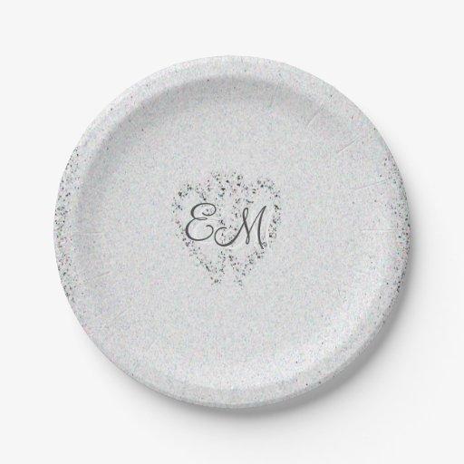 Diamond Glitter Monogram Wedding Paper Plates Zazzle  sc 1 st  Castrophotos & Monogrammed Paper Plates - Castrophotos