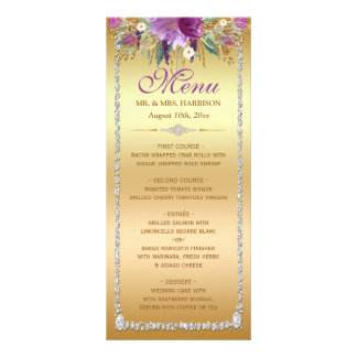 Diamond Glitter Watercolor Flowers Gold Menu