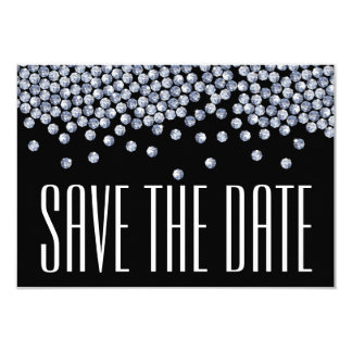 Diamond Glitter Wedding Save the Date Announment Card