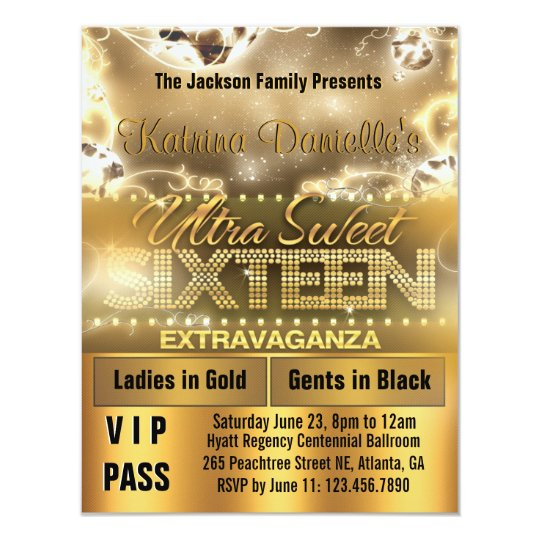 Diamond Glow Sweet Sixteen VIP Pass Invite [Gold]
