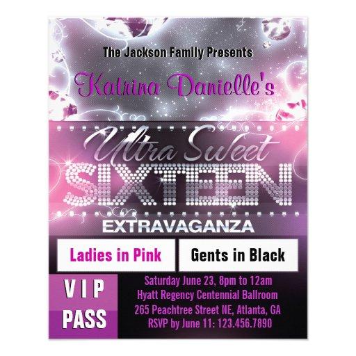Diamond Glow Sweet Sixteen VIP Pass [Pink] Full Color Flyer