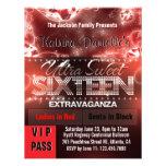 Diamond Glow Sweet Sixteen VIP Pass [Red Black] Personalized Invitations
