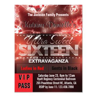 Diamond Glow Sweet Sixteen VIP Pass [Red Black] 4.25x5.5 Paper Invitation Card