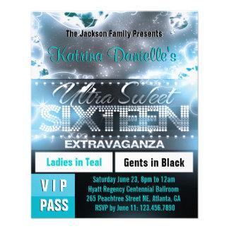 "Diamond Glow Sweet Sixteen VIP Pass [Teal] 4.5"" X 5.6"" Flyer"