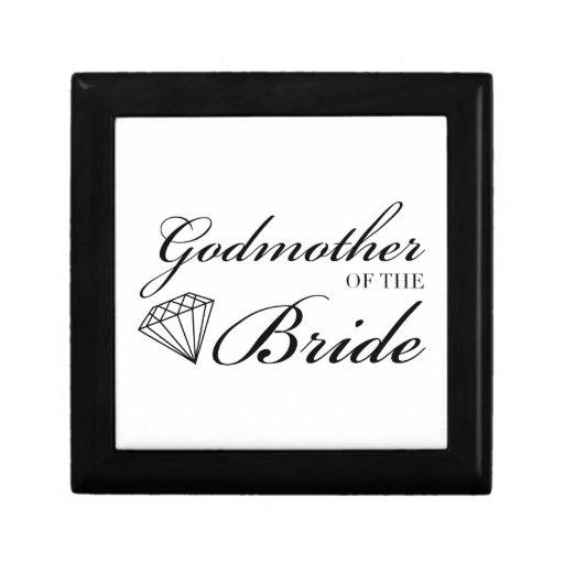 Diamond Godmother of Bride Black Gift Boxes