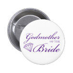 Diamond Godmother of Bride Purple Pinback Button