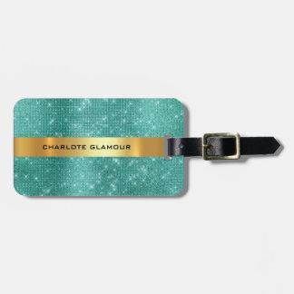 Diamond Gold Sequin Teal Tropic Minimalism Luggage Tag