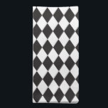 "Diamond Harlequin Pattern in Black and White Cloth Napkin<br><div class=""desc"">Classic Diamond Harlequin Pattern in bold Black and White</div>"