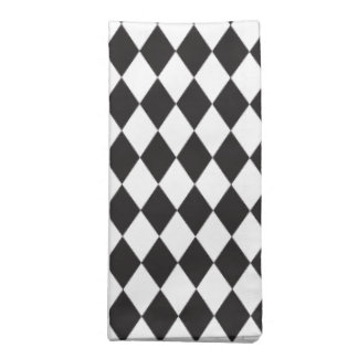 Diamond Harlequin Pattern in Black and White Cloth Napkin