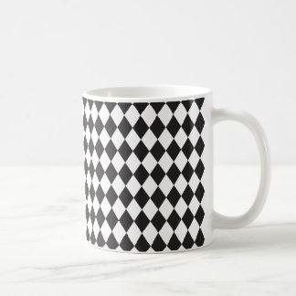 Diamond Harlequin Pattern in Black and White Coffee Mug