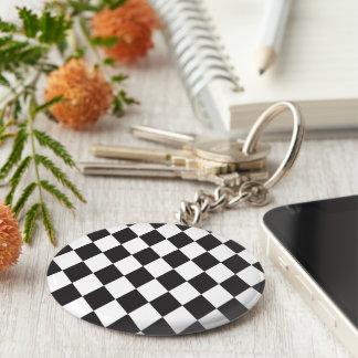 Diamond Harlequin Pattern in Black and White Keychain