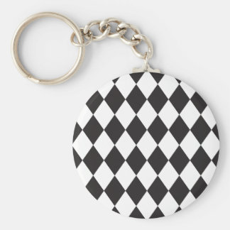 Diamond Harlequin Pattern in Black and White Keychain