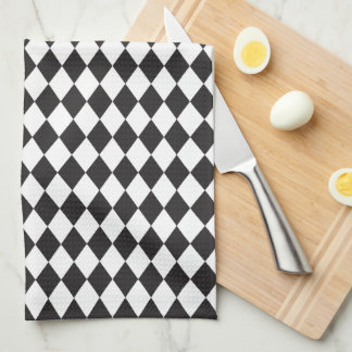 Diamond Harlequin Pattern in Black and White Kitchen Towel
