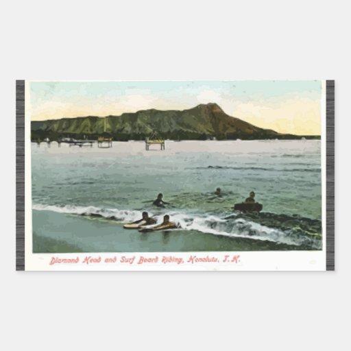 Diamond Head And Surf Board Riding Honcluta J.K., Stickers
