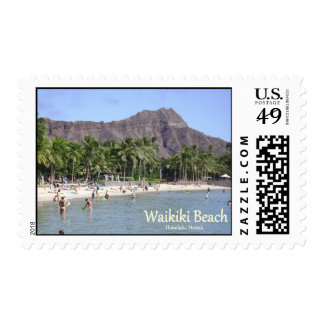 Diamond Head and Waikiki Beach water, sand, people Stamp