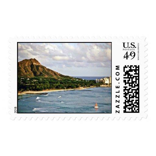 Diamond Head - Waikiki Beach, Oahu Postage Stamp