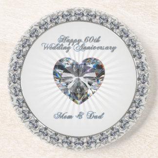 Diamond Heaert 60th Wedding Anniversary Coaster