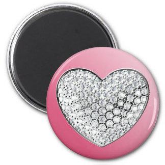 Diamond Heart 2 Inch Round Magnet