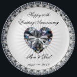 """Diamond Heart 60th Anniversary Porcelain Plate<br><div class=""""desc"""">A Digitalbcon Images Design featuring a platinum silver and diamond color theme in this one-of-a-kind Diamond Wedding Anniversary Porcelain Plate. This elegant and attractive plate comes complete with customizable text lettering to suit your own special occasion and makes a great memento to the wonderful occasion of your parent&#39;s 60th Wedding...</div>"""