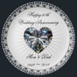"Diamond Heart 60th Anniversary Porcelain Plate<br><div class=""desc"">A Digitalbcon Images Design featuring a platinum silver and diamond color theme in this one-of-a-kind Diamond Wedding Anniversary Porcelain Plate. This elegant and attractive plate comes complete with customizable text lettering to suit your own special occasion and makes a great memento to the wonderful occasion of your parent&#39;s 60th Wedding...</div>"