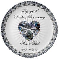 Diamond Heart 60th Anniversary Porcelain Plate