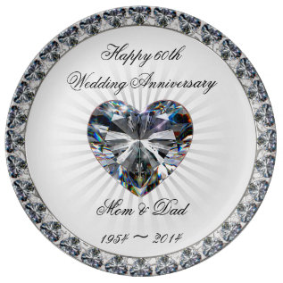 Diamond Heart 60th Anniversary Porcelain Plate at Zazzle