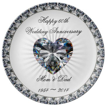 Valentines Themed Diamond Heart 60th Anniversary Porcelain Plate