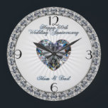 """Diamond Heart 60th Wedding Anniversary Clock<br><div class=""""desc"""">A Digitalbcon Images Design featuring a silver and black color theme with a variety of custom images,  shapes,  patterns,  styles and fonts in this one-of-a-kind &quot;Diamond Wedding Anniversary&quot; Clock. This elegant and attractive design makes the ideal gift for the Anniversary Couple on the special occasion.</div>"""