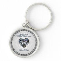 Diamond Heart 60th Wedding Anniversary Key Chain