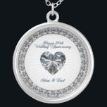 """Diamond Heart 60th Wedding Anniversary Necklace<br><div class=""""desc"""">A Digitalbcon Images Design featuring a Silver,  Platinum and diamond color theme with a variety of custom images,  shapes,  patterns,  styles and fonts in this one-of-a-kind Diamond Wedding Anniversary Necklace.  This makes a beautiful keepsake in honor of this momentus occacion.</div>"""