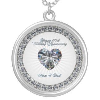 Diamond Heart 60th Wedding Anniversary Necklace