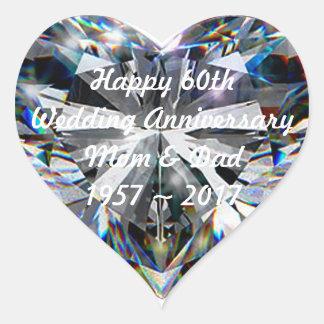 Diamond Heart 60th Wedding Anniversary Sticker