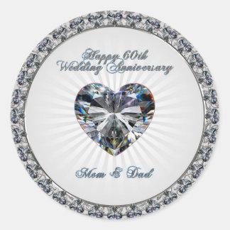 Diamond Heart 60th Wedding Anniversary Stickers