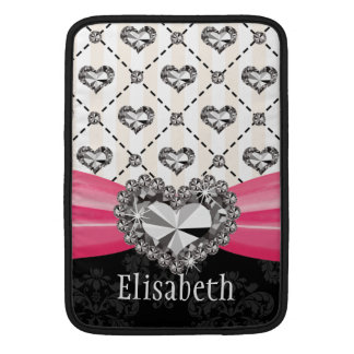 Diamond Heart Bling Macbook Air Sleeve 13 / 11 Inc
