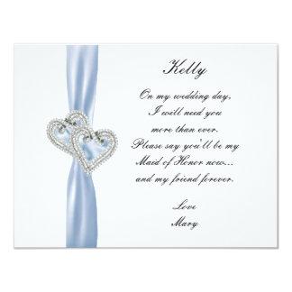 Diamond Heart Blue Wedding Maid Of Honor Card Custom Invites