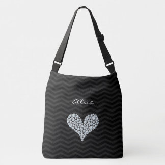 Diamond Heart Chevron Pattern Crossbody Bag