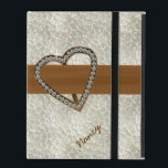 """Diamond Heart Custom iPad 2/3/4 Case<br><div class=""""desc"""">Chic iPad 2/3/4 case done in a pearly textured looking background,  with elegant graphics of a brown ribbon,  across the middle,  with a brass looking heart decoration covered in diamonds.  Personalize the name,  on the front of the case,  to suit your needs.</div>"""