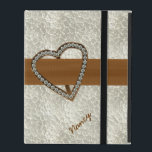 "Diamond Heart Custom iPad 2/3/4 Case<br><div class=""desc"">Chic iPad 2/3/4 case done in a pearly textured looking background,  with elegant graphics of a brown ribbon,  across the middle,  with a brass looking heart decoration covered in diamonds.  Personalize the name,  on the front of the case,  to suit your needs.</div>"