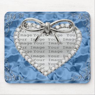 Diamond Heart Frame Blue Mouse Pad