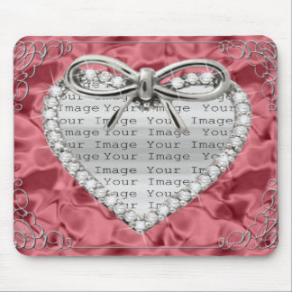 Diamond Heart Frame Red Mouse Pad