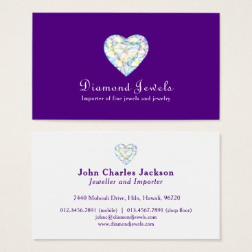 Professional Business Diamond heart jewel jewelry business card