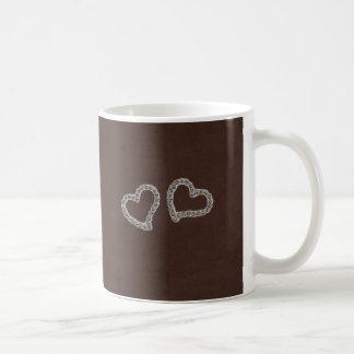 Diamond Heart on Brown Mug